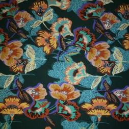 Bomulds jersey økotex digitalt print med blomster flaskegrøn turkis gul-20