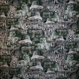 Afklip Bomulds jersey økotex digitalt print med snetiger, 40x60 cm.-20