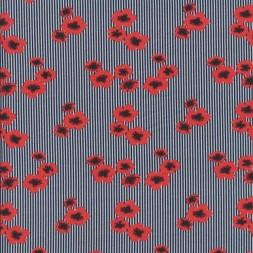 Bomulds jersey økotex digitalt print småstribet med blomster-20