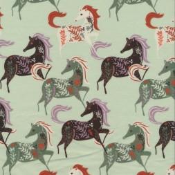 Bomuldsjersey økotex med heste i lysegrøn, støvet grøn og sort-20