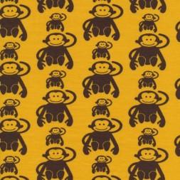 Bomuld lycra økotex gul med brune aber-20
