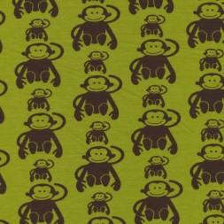 Bomuld lycra økotex lime med brune aber-20