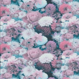 Afklip Bomuldsjersey med blomster i digitalprint i rosa hvid petrol, 40x60 cm.-20