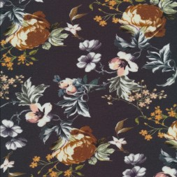 Bomuldsjersey med blomster i digitalprint i brændt orange rosa blå-20
