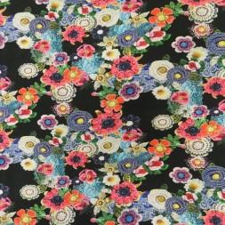 Rest Bomuldsjersey med digitalprint sort med hæklede blomster, 88 cm.-20