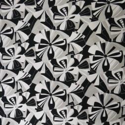 Bomuldsjersey med digitalprint retro blomster i sort, hvid og lysegrå-20