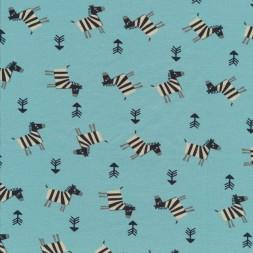 Bomuldsjersey økotex aqua med zebra-20