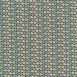 Bomuldsjersey økotex med små cirkler i hvid flaskegrøn lime brun-20