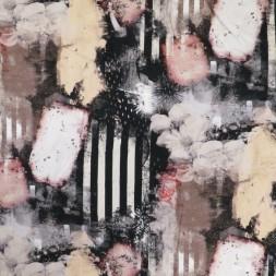 Bomuldsjersey med digitalprint med strib og blomster i sort og pudder-20