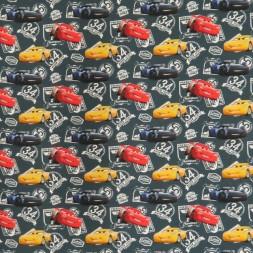 Bomuldsjersey økotex m/digitalt tryk grå-grøn, Cars-20