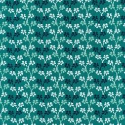 Bomulds jersey økotex småblomstret turkisgrøn, hvid og grå-grøn-20