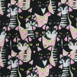 Bomuldsjersey med digitalprint i med katte i sort og lyserød-20