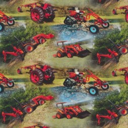 Afklip Bomuld/lycra økotex m/digitalt tryk, med små traktor i rød 40x60 cm.-20