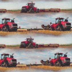 Afklip Bomuld/lycra økotex m/digitalt tryk, med traktor i lyseblå og rød 39x60 cm.-20