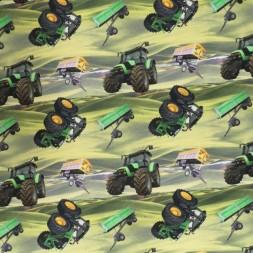 Afklip Bomuld/lycra økotex m/digitalt tryk, med traktor i grøn 40x60 cm.-20