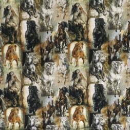 Rest Bomuld/lycra økotex m/digitalt tryk, m/malede heste 55 cm.-20