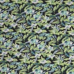 Bomuldsjersey med digitalprint med blomster marine lys grøn aqua-20