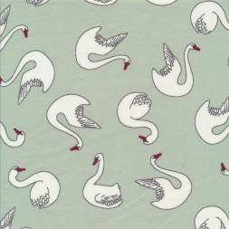 Økologisk Bomuldsjersey med svaner i sart grøn-20