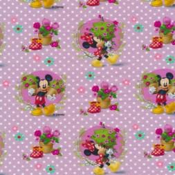Bomuld/elasthan digitalt tryk lyselilla med Minnie og Mickey-20