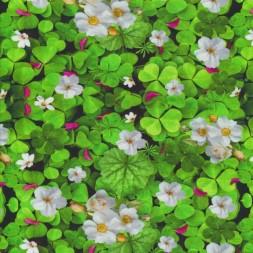 Afklip Bomuld/lycra m/digitalt tryk med grønne kløver og jordbær-blomster 40x55 cm.-20
