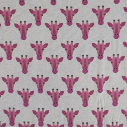Bomuldsjersey økotex m/digitalt tryk meleret med giraf i rosa-20