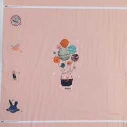 Rapport Bomuldsjersey økotex rosa med luftballon 63x150 cm.-20