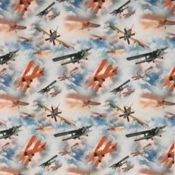 Bomuldsjersey økotex m/digitalt tryk med flyver og skyer-20