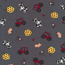 Bomulds jersey grå med rød traktor og bondegårds dyr-20