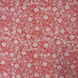 Bomuld/lycra økotex med blomster i rød og hvid-20