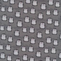 Bomuld/lycra økotex i grå med pingviner-20