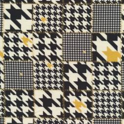 Bomuldsjersey økotex m/digitalt tryk tern med hanefjed i sort offwhite carry-20