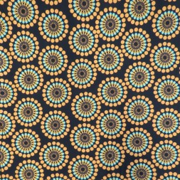 Bomuldsjersey økotex m/digitalt tryk med retro cirklel/blomst i sort carry turkis-20