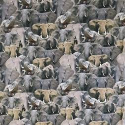 Afklip Bomulds jersey økotex digitalt print med elefanter i grå og beige 40x60 cm.-20