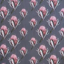 Bomuldsjersey m/digitalt tryk med artiskok blomst i støvet grå-blå-20