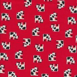 Bomulds jersey økotex rød med køer-20
