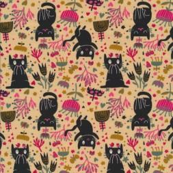 Bomuld/lycra økotex i lys laks med sorte katte og blomster-20