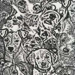Bomuld/lycra økotex med tegning af hunde hoveder i sort og hvid-20