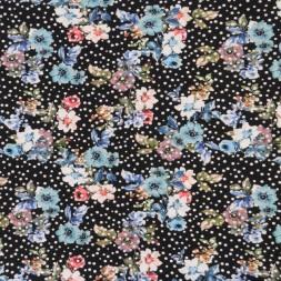 Bomuld/lycra økotex med digitalt tryk med blomster og prikker i sort turkis-20