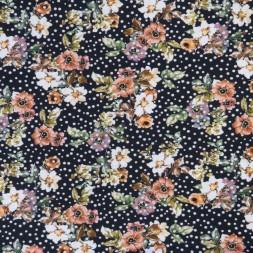 Bomuld/lycra økotex med digitalt tryk med blomster og prikker i sort orange-20