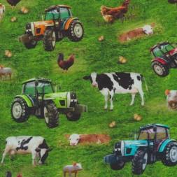 Afklip Bomuld/lycra økotex m/digitalt tryk, med traktor og køer, 40x60 cm.-20
