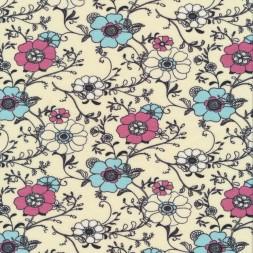 Bomuld/lycra økotex med blomster i offwhite babylyseblå rosa og sort-20