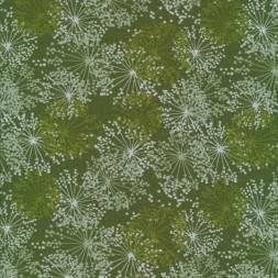 Bomuld/lycra med blomsterskærme i army-grøn-20