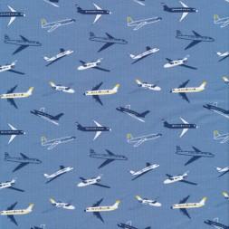 Bomulds jersey økotex i denimblå med flyvamaskiner-20