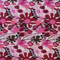 Bomuld/lycra med blomster i hvid pink brun-20