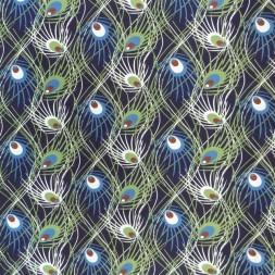 Bomuld/lycra i marine med påfuglefjer-20