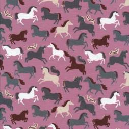 Bomulds jersey økotex i rosa med heste-20