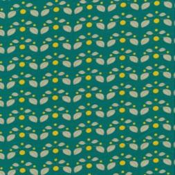 Bomuldsjersey i lys petrol-grøn med små blade og prikker-20