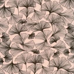 Bomuldsjersey i lys laks med gråbrun blad mønster-20
