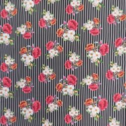 Bomuldsjersey i sort med digitalprint med striber og blomster-20
