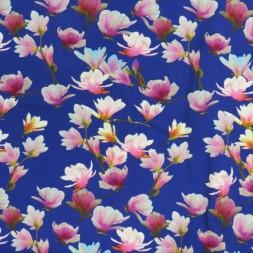 Bomuldsjersey med digitalprint i blå-lilla med lyserøde blomster-20